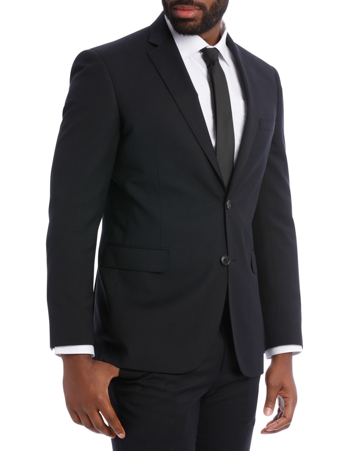 Black Pindot Wool Blend Suit Jacket image 3
