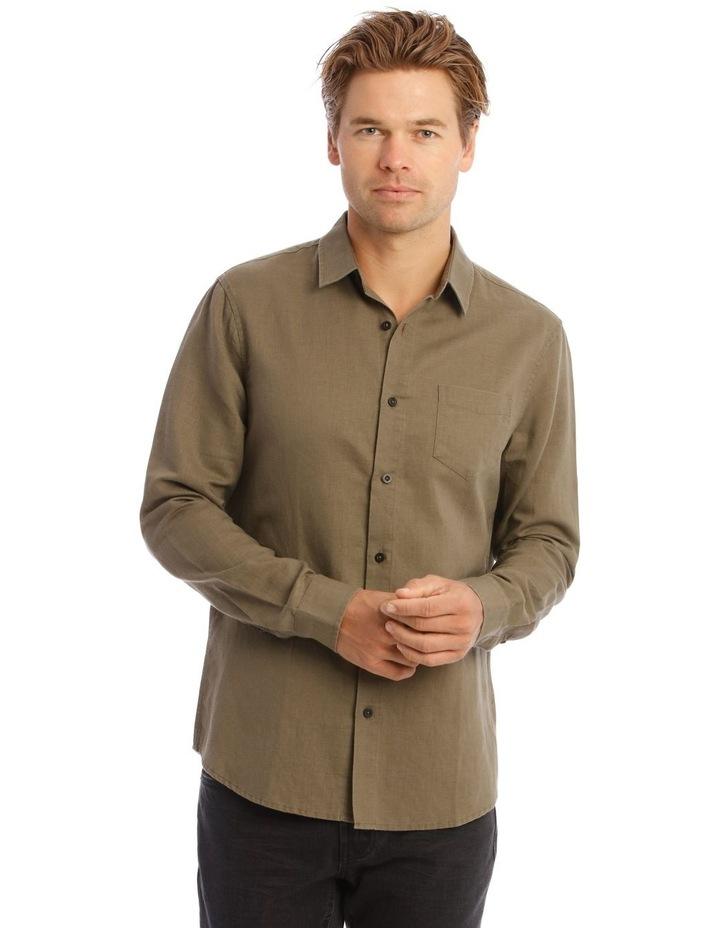 Brent Long-Sleeve Linen Shirt In Khaki image 1