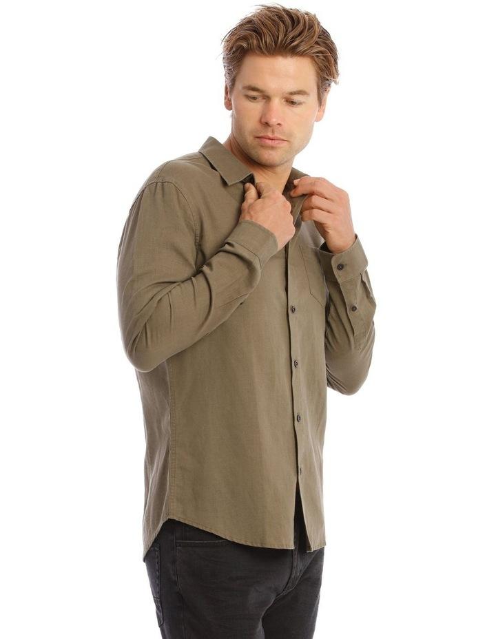 Brent Long-Sleeve Linen Shirt In Khaki image 2