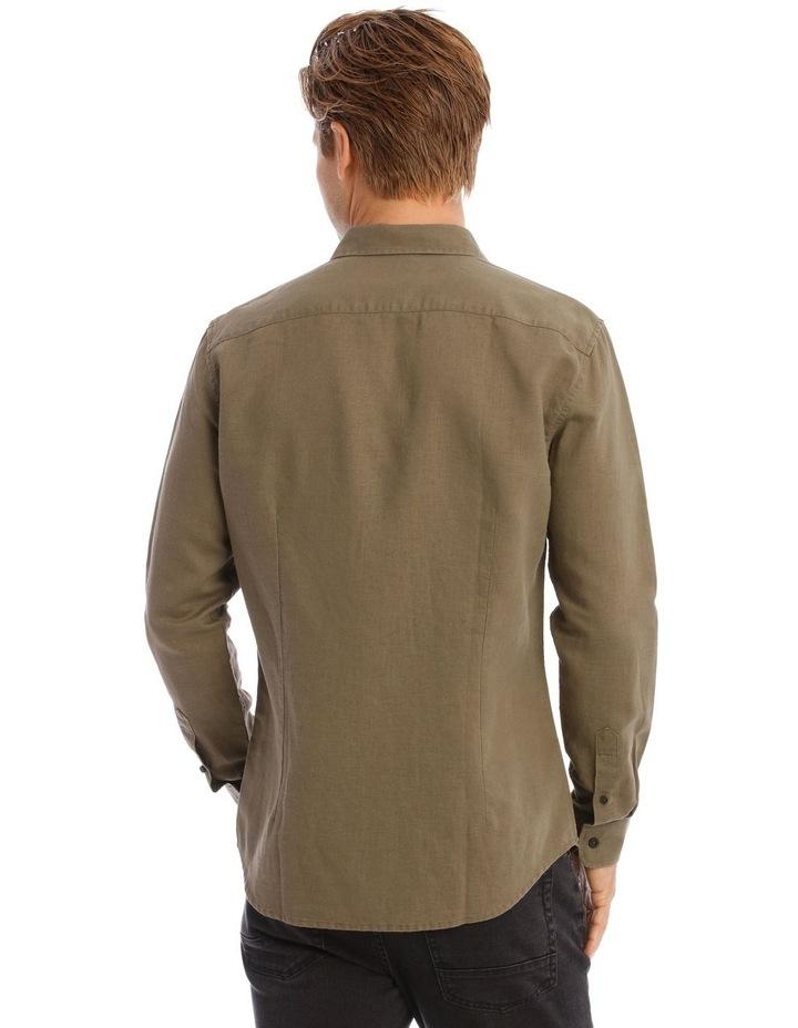 Brent Long-Sleeve Linen Shirt In Khaki image 3