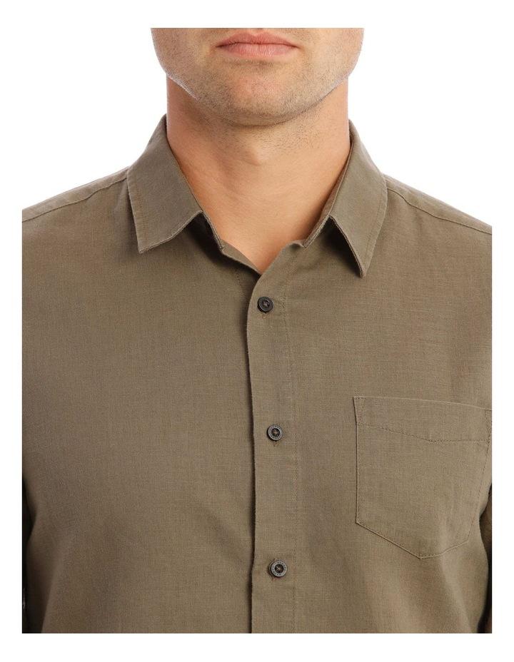 Brent Long-Sleeve Linen Shirt In Khaki image 4