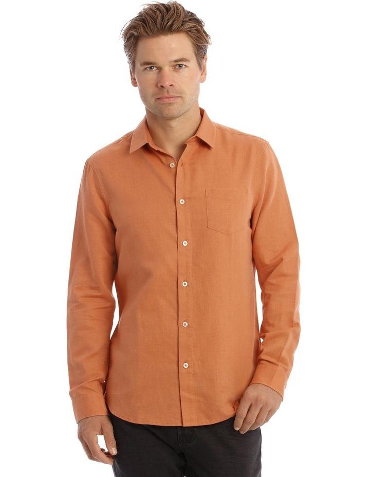 Brent Long-Sleeve Linen Shirt In Burnt Orange image 1