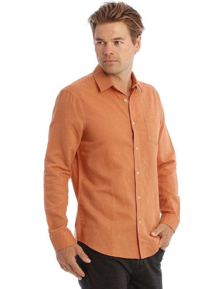 Brent Long-Sleeve Linen Shirt In Burnt Orange image 2