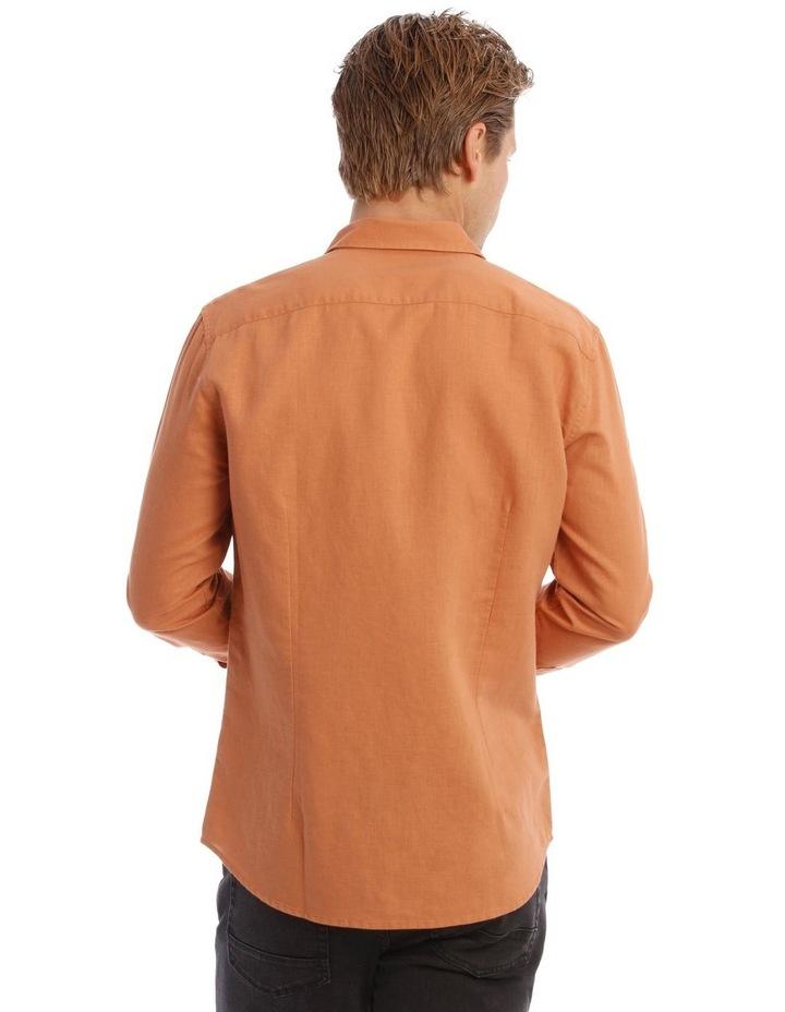 Brent Long-Sleeve Linen Shirt In Burnt Orange image 3