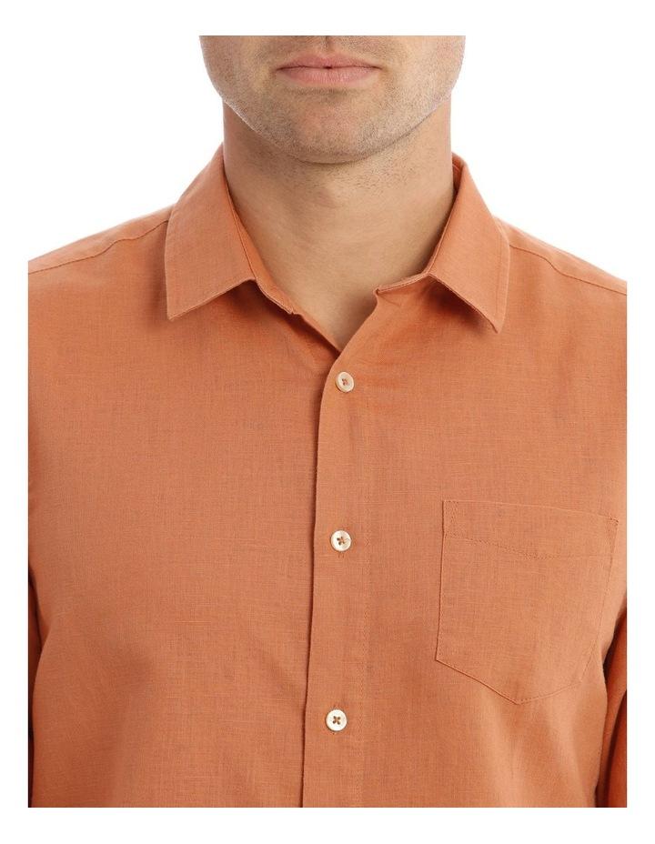 Brent Long-Sleeve Linen Shirt In Burnt Orange image 4
