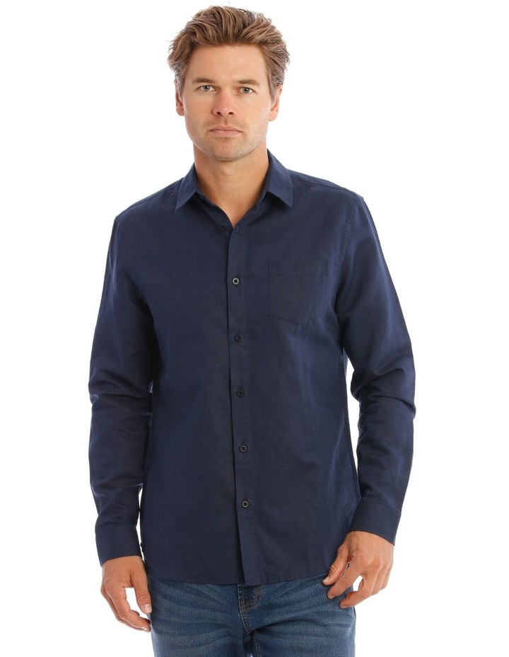 Brent Long-Sleeve Linen Shirt In Navy image 1