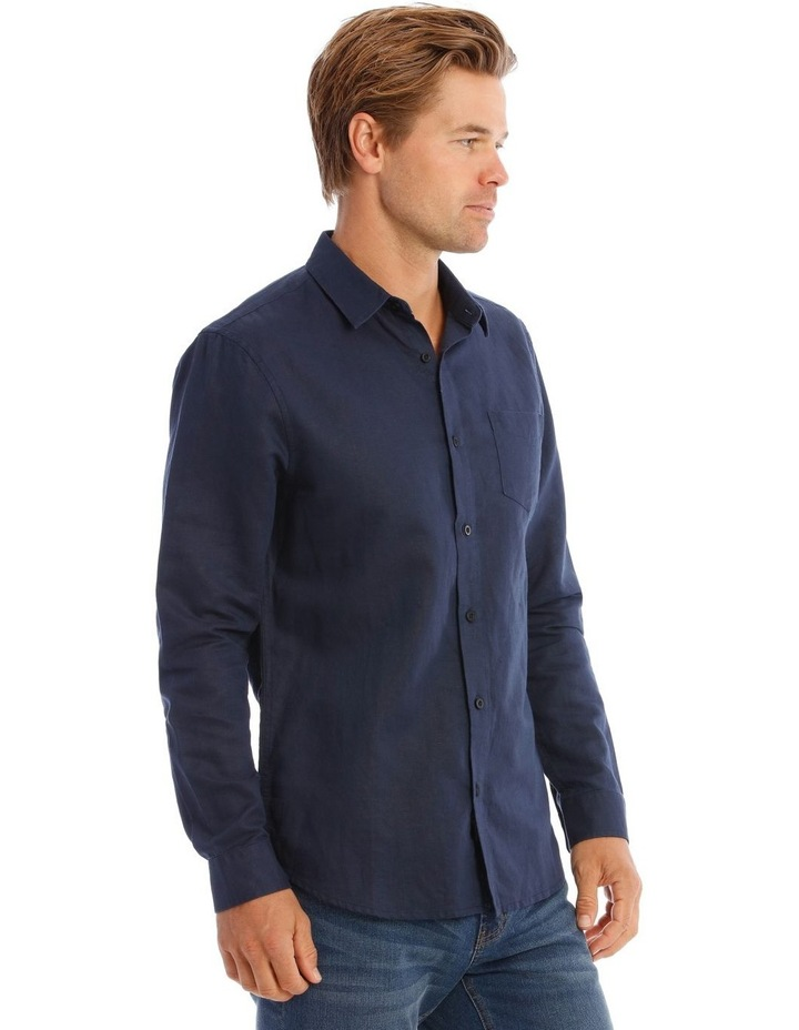 Brent Long-Sleeve Linen Shirt In Navy image 2