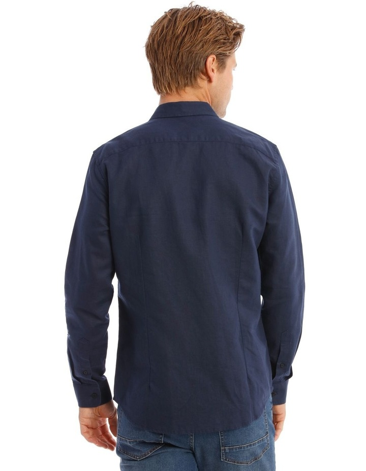 Brent Long-Sleeve Linen Shirt In Navy image 3