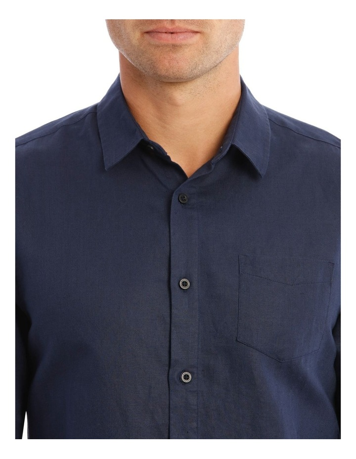 Brent Long-Sleeve Linen Shirt In Navy image 4