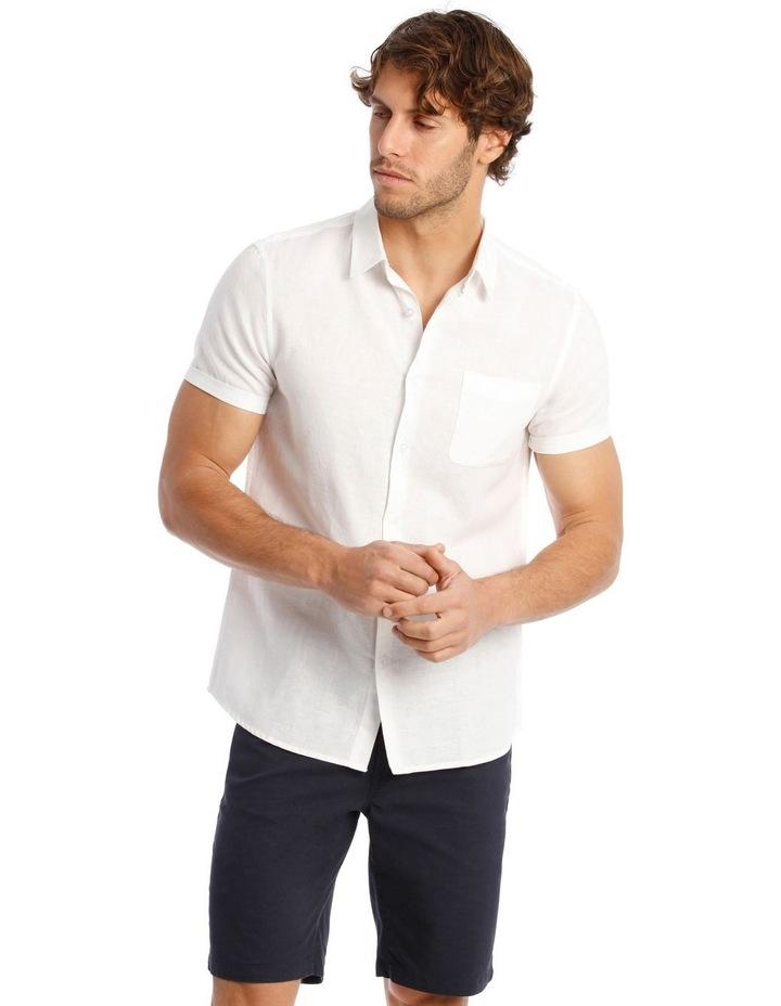 Somerset Short Sleeve Linen Shirt in White image 1