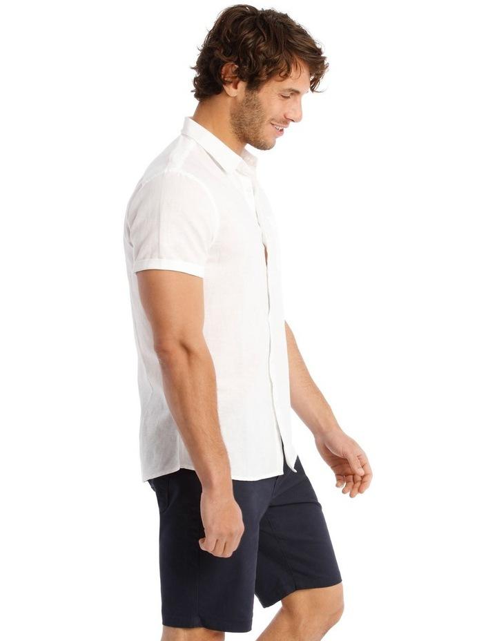 Somerset Short Sleeve Linen Shirt in White image 2