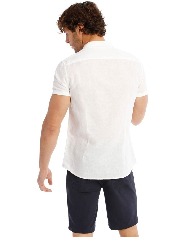 Somerset Short Sleeve Linen Shirt in White image 3