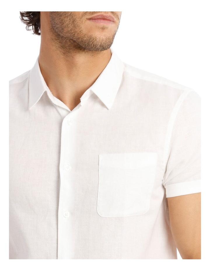 Somerset Short Sleeve Linen Shirt in White image 4