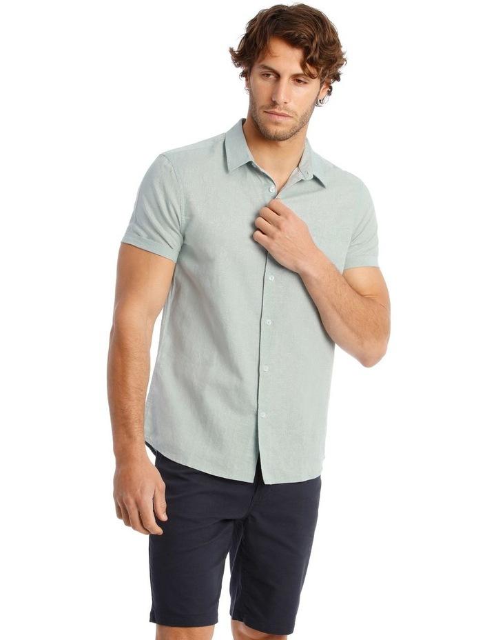 Somerset Short Sleeve Linen Shirt in Blue image 1