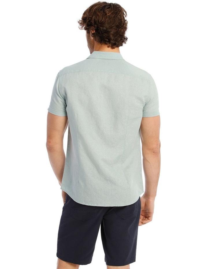 Somerset Short Sleeve Linen Shirt in Blue image 3