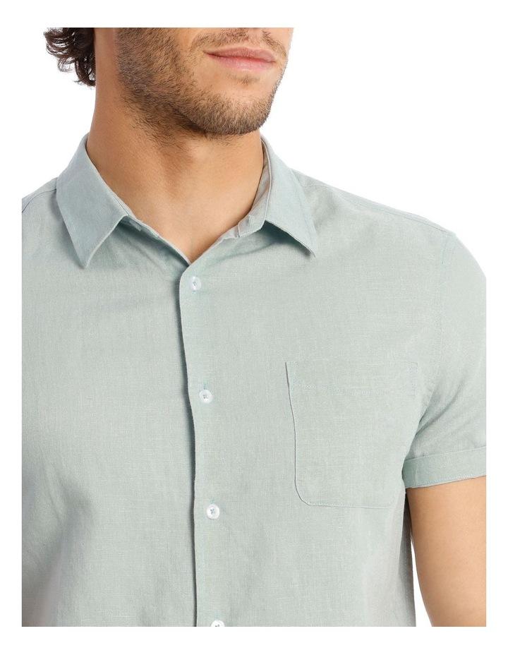 Somerset Short Sleeve Linen Shirt in Blue image 4