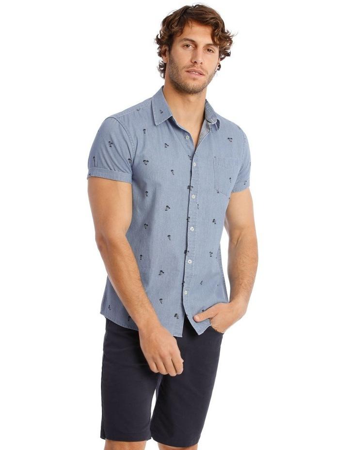 Palm Beach Short Sleeve Print Shirt in Denim image 1