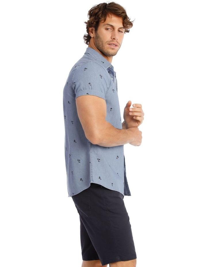 Palm Beach Short Sleeve Print Shirt in Denim image 2