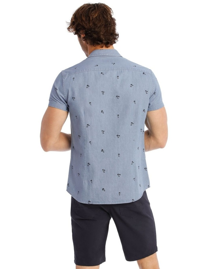 Palm Beach Short Sleeve Print Shirt in Denim image 3