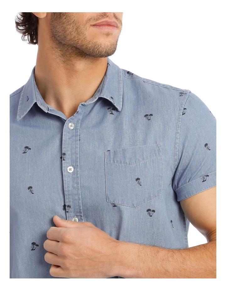 Palm Beach Short Sleeve Print Shirt in Denim image 4