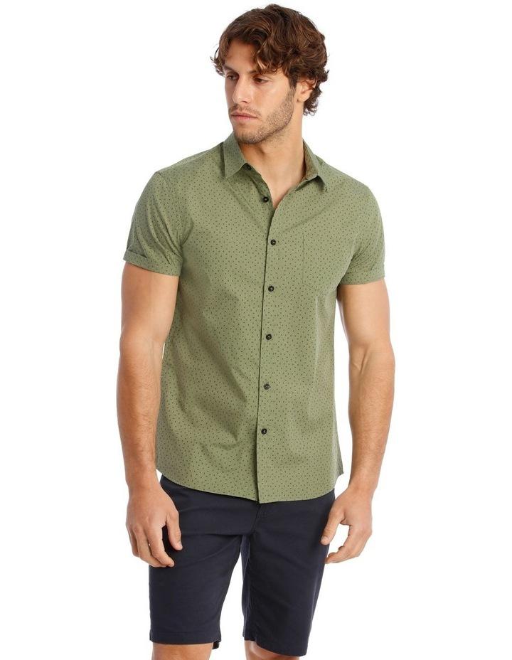 Bengal Short Sleeve Geo Print Shirt in Khaki image 1