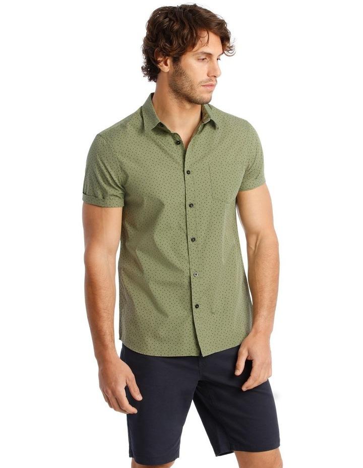 Bengal Short Sleeve Geo Print Shirt in Khaki image 2