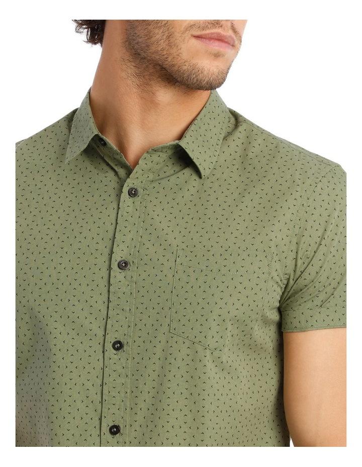 Bengal Short Sleeve Geo Print Shirt in Khaki image 4