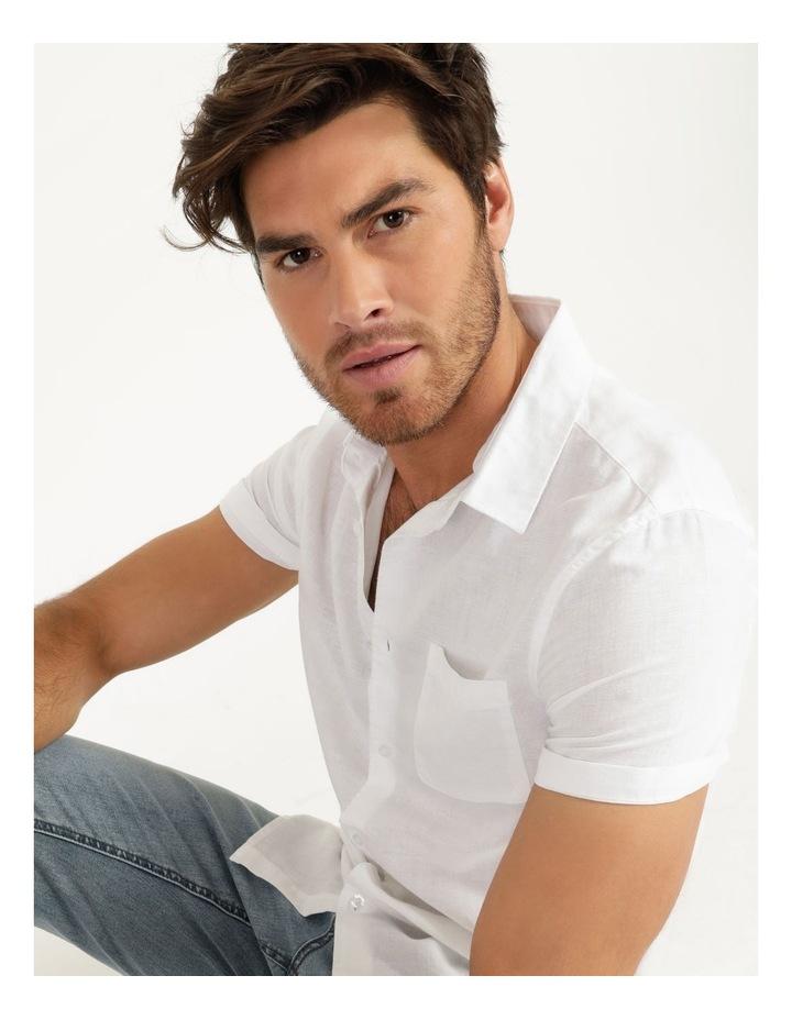 Lennon Linen Short Sleeve Shirt White image 6