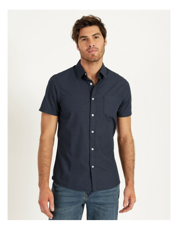 Dolphin Geometric Print Short Sleeve Shirt Navy image 1