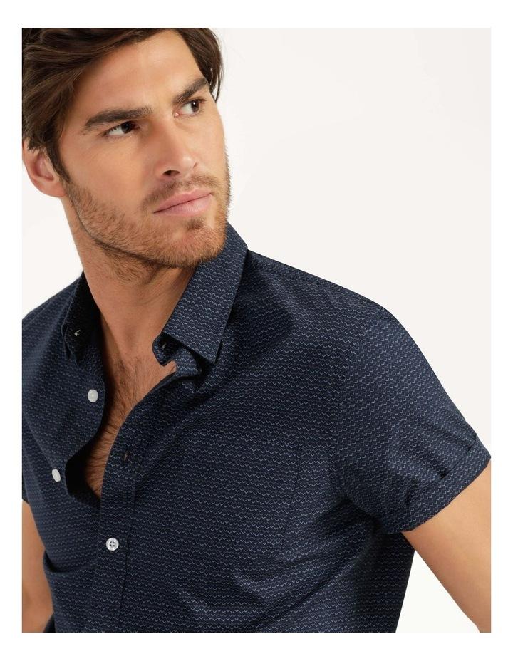 Dolphin Geometric Print Short Sleeve Shirt Navy image 6