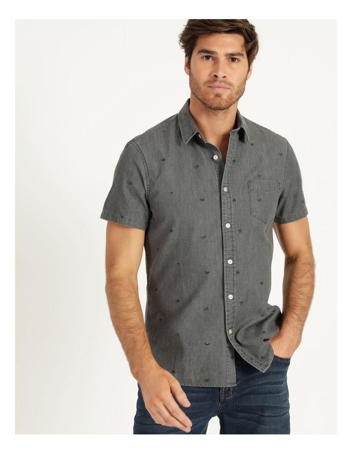 Denim Print Short Sleeve Shirt Black image 1
