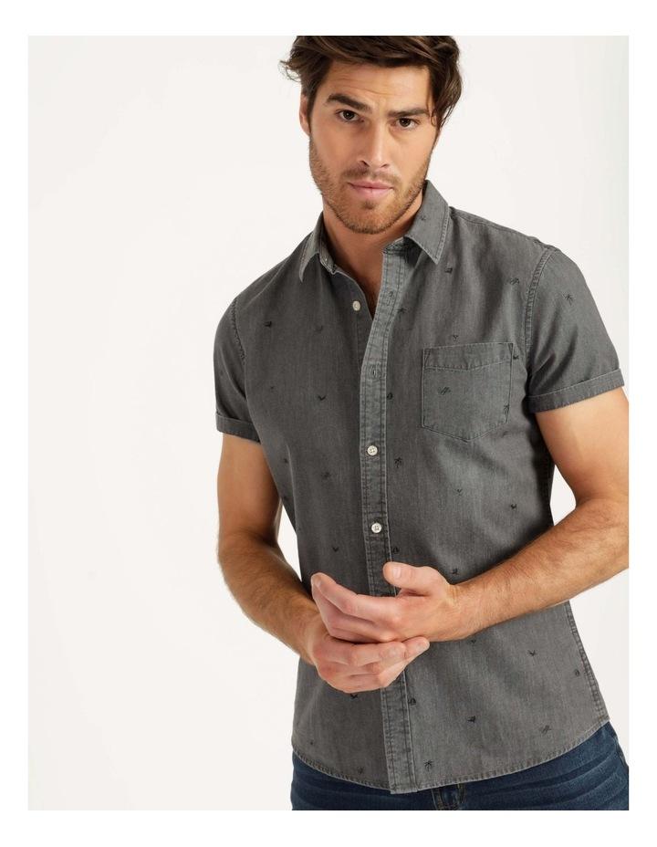 Denim Print Short Sleeve Shirt Black image 2