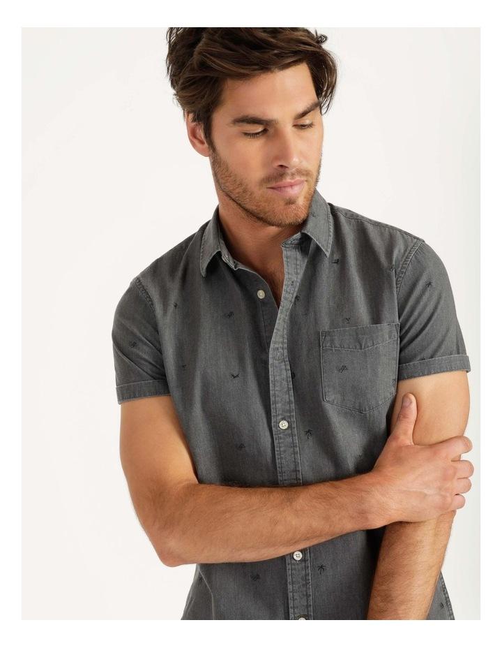 Denim Print Short Sleeve Shirt Black image 4