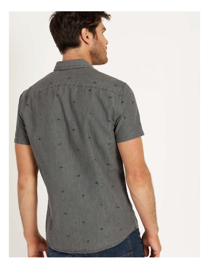Denim Print Short Sleeve Shirt Black image 5