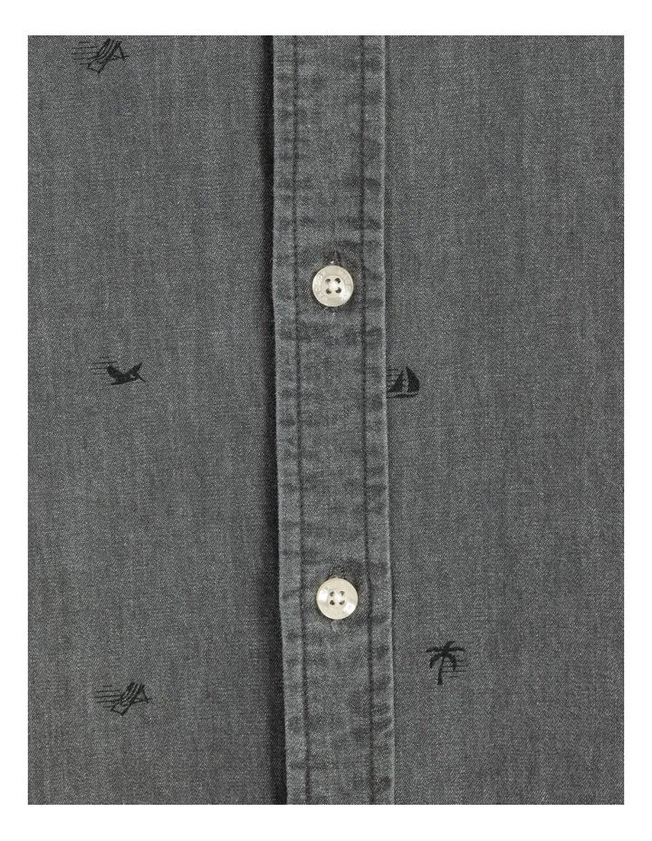 Denim Print Short Sleeve Shirt Black image 7