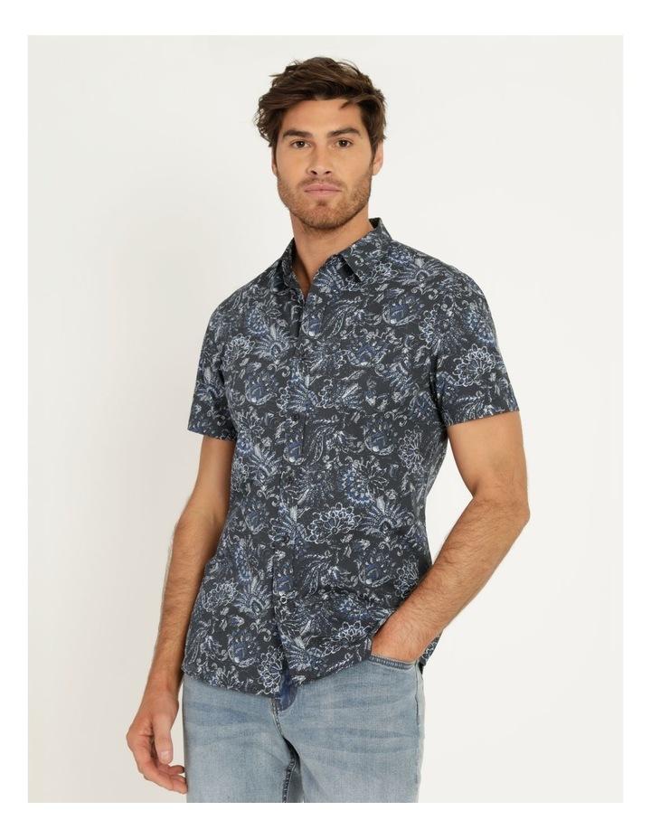 Canggu All Over Print Short Sleeved Shirt Navy image 3