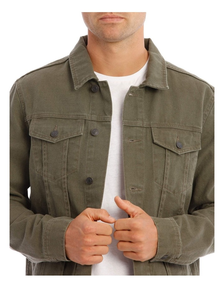 Barlow Denim Jacket In Khaki image 4
