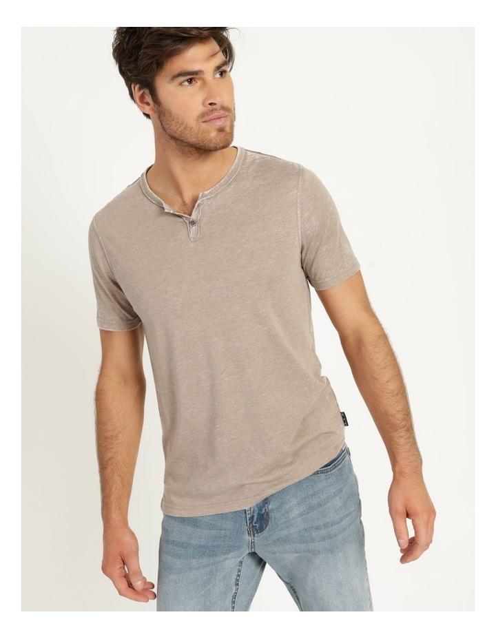 Hudson Short Sleeve Henley T-Shirt Stone image 2