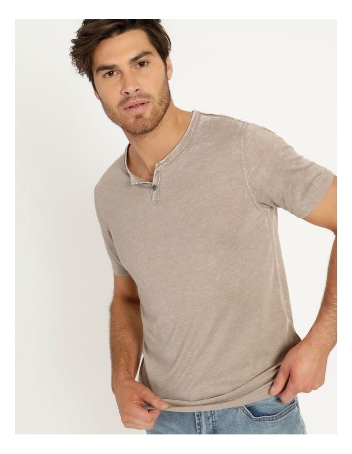Hudson Short Sleeve Henley T-Shirt Stone image 3
