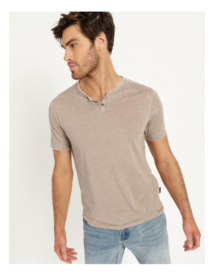 Hudson Short Sleeve Henley T-Shirt Stone image 4