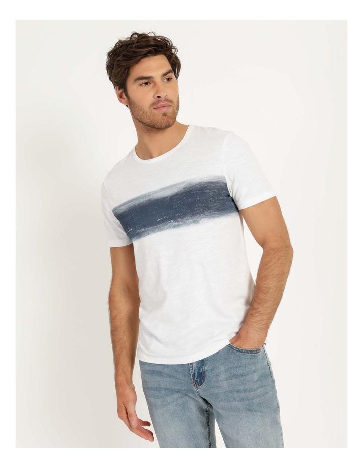 Besakih Printed Stripe Short Sleeve Tee White image 1