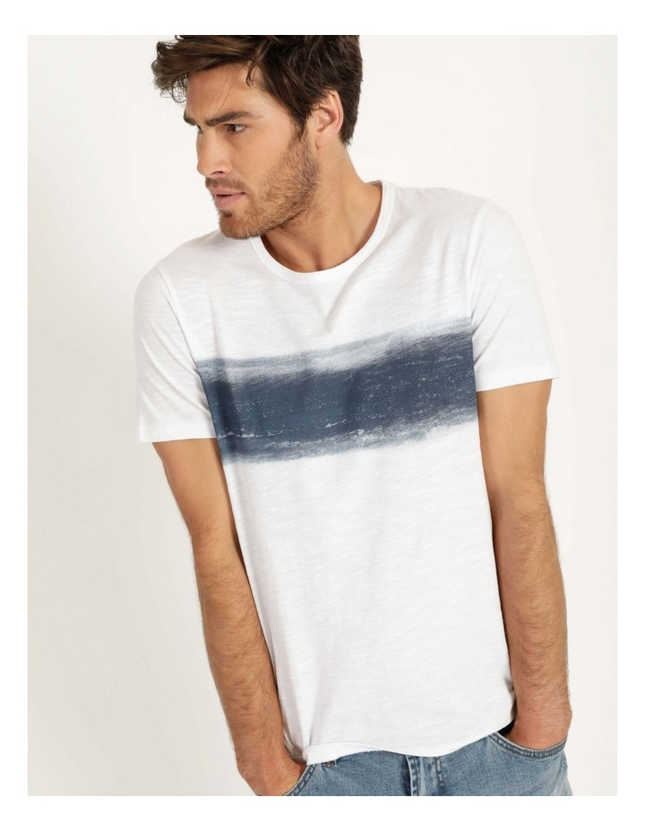 Besakih Printed Stripe Short Sleeve Tee White image 2