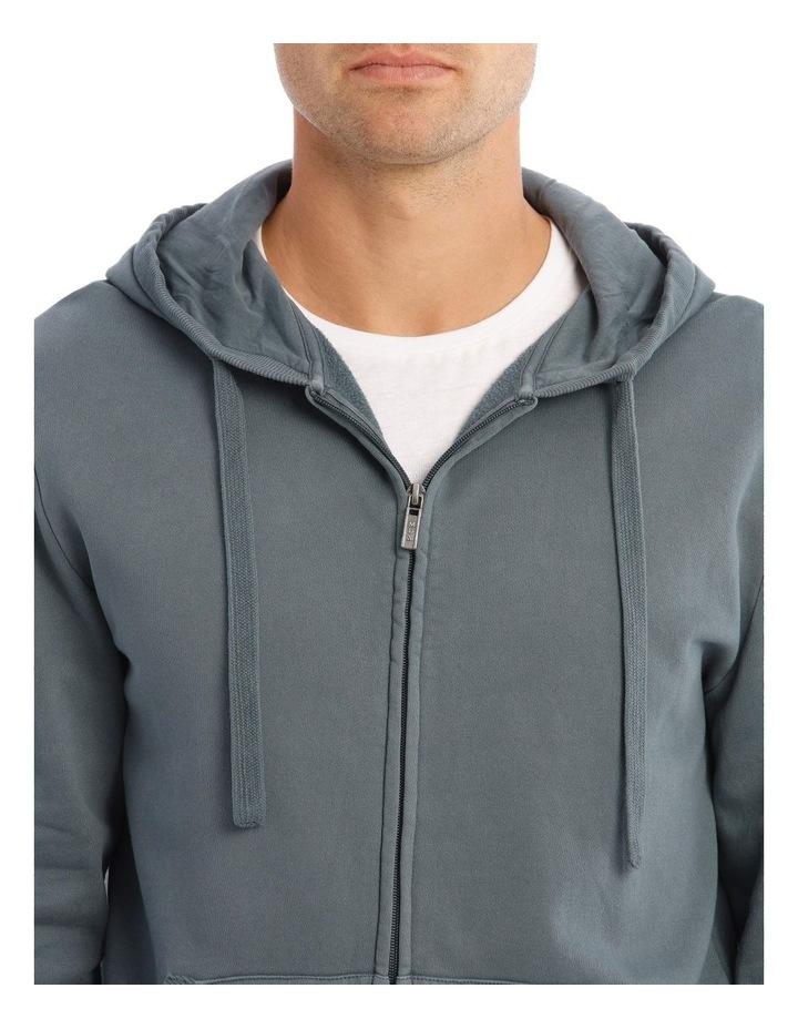 Norwood Zip-Thru Hooded Sweat-Top In Petrol Blue image 4