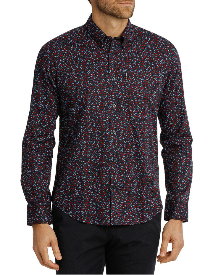 Long Sleeve Floral Print Mod Shirt image 1