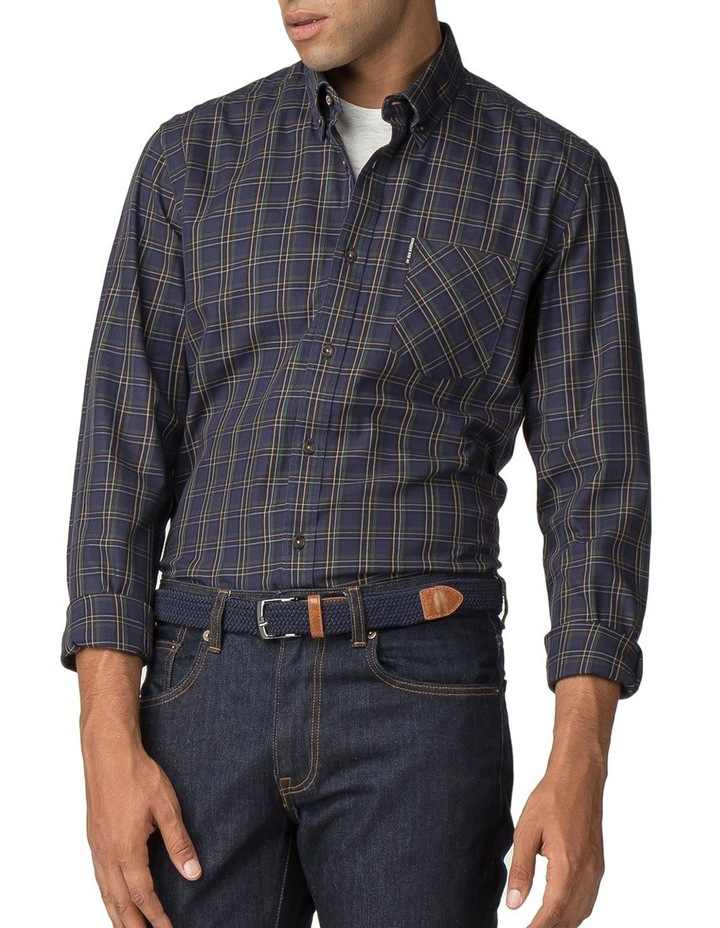 LS HERITAGE WINDOWPANE SHIRT NAVY image 1