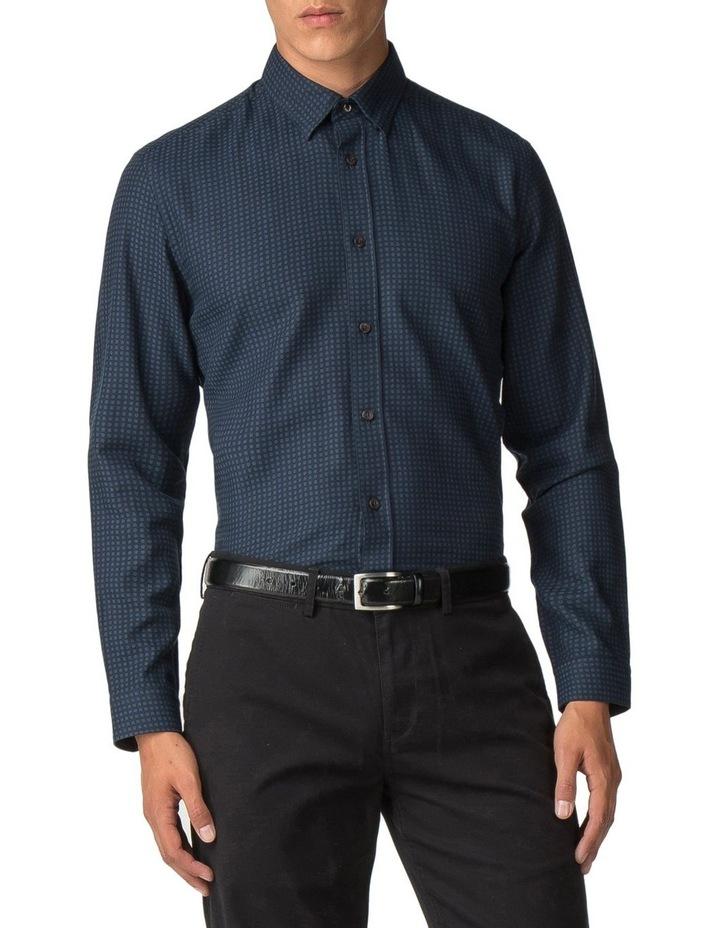 Long Sleeve Herringbone Polka Shirt Dark Navy image 1