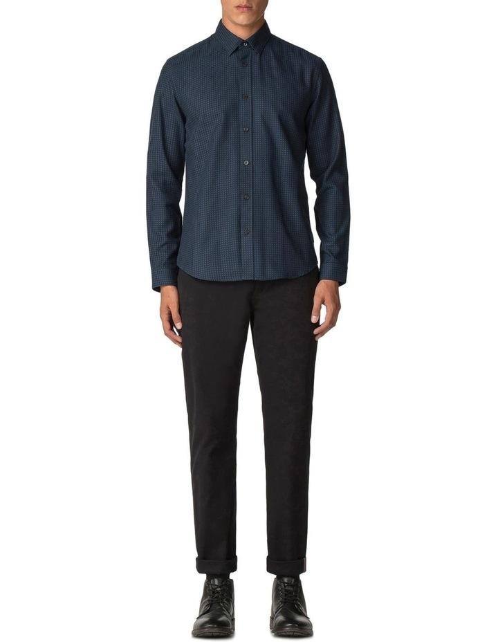 Long Sleeve Herringbone Polka Shirt Dark Navy image 2
