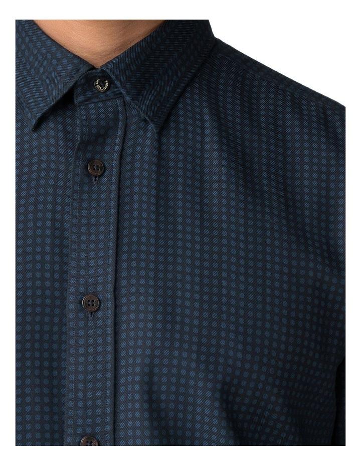 Long Sleeve Herringbone Polka Shirt Dark Navy image 4