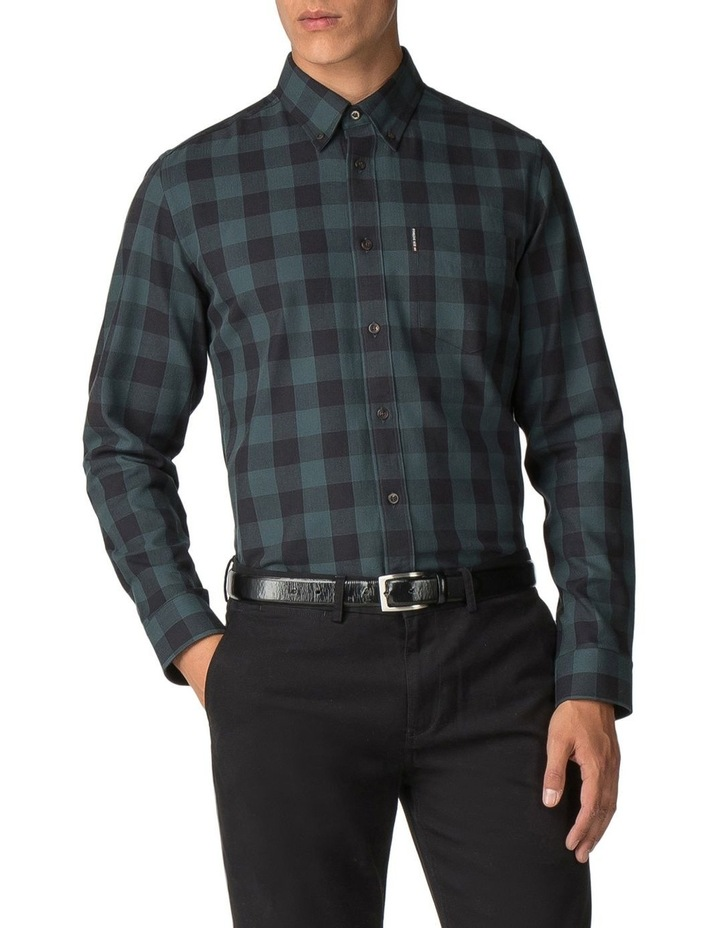 Long Sleeve Parquet Gingham Shirt Dark Green image 1