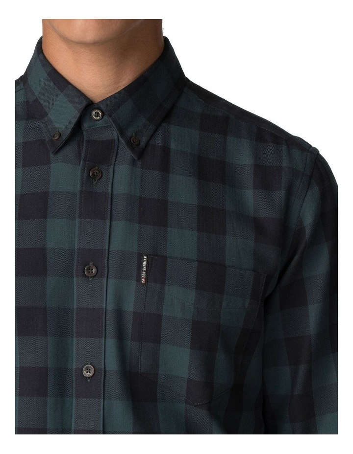 Long Sleeve Parquet Gingham Shirt Dark Green image 4